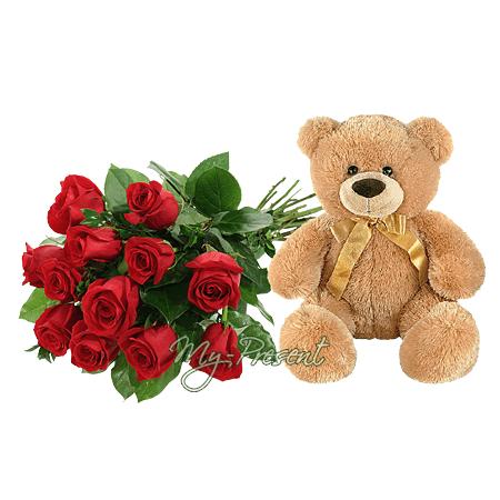 Мягкая игрушка - мишка с красными розами в Душанбе