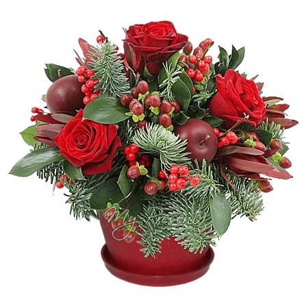 Рождественская композиция из роз и яблок