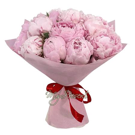 Акция - Букет из 15 розовых пионов